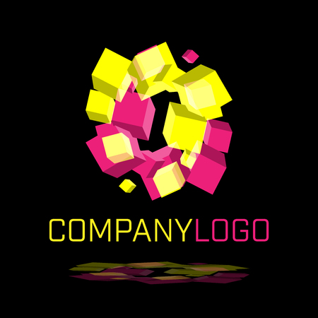 Abstract logo made of spinning cubes shapes on black background in vector format Illustration