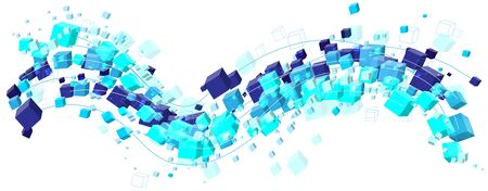 Abstract cool blue cubes shapes stream wave in vector format Illustration