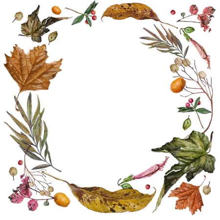 Art painting in watercolor vintage style of leaves arranged in a circle in autumn with an empty space to write in the middle on a white background