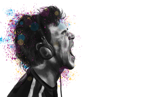 Conceptual painting of a man in profile, listen to music on headphones and shout – On white background