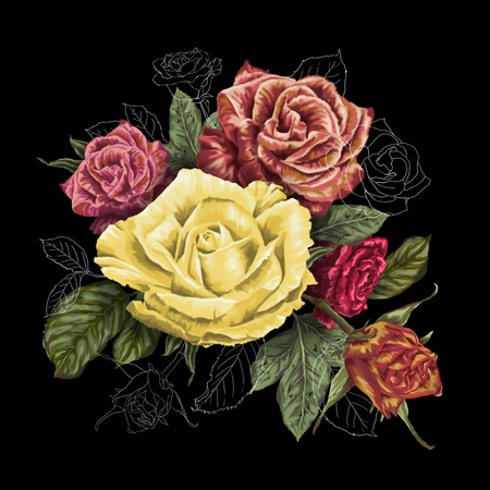 Decorative painting of roses flowers bouquet in a vintage style on a black background
