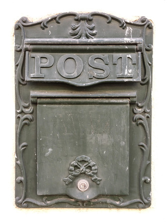 Old Mailbox made of metal with POST caption on white background