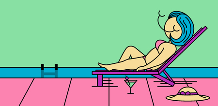 Illustration of a girl lying by the pool, sunbathing and enjoying life on vacation. Colorful background