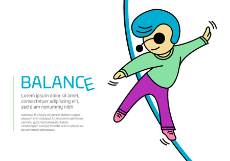 Illustration of a man walking on a rope taking a risk and trying to keep on BALANCE in isolated vector format
