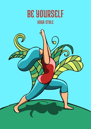 Woman practicing the Warrior I pose for YOGA DAY event. Beautiful colorful poster design with encouragement caption.