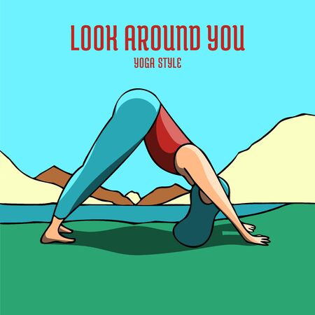 Woman practicing the Downward Facing Dog pose for YOGA DAY event. Beautiful colorful poster design with encouragement caption.