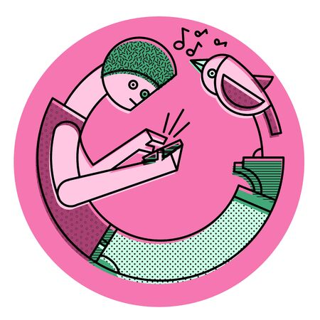 Boy texting a message on mobile and ignoring the singing bird concept - Digital vector illustration inside a circle sticker