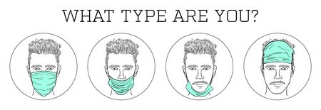 Illustration of different habits of wearing a medical face mask. How not to use surgical mask.
