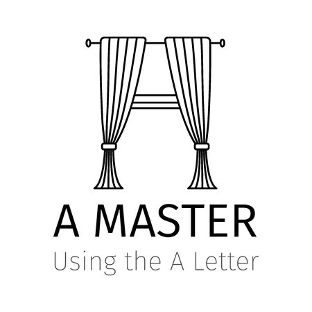 Simple icon for trendy Logo design. An illustration of CURTAIN that simulates the letter A. Can be used to create an identity brand Ilustração