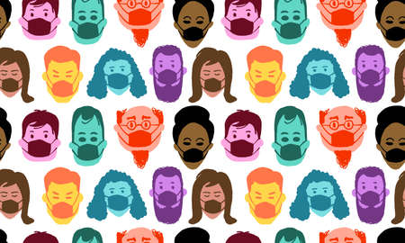 Pattern of people wearing masks on. Colorful, funny, hand drawn faces. Covid-19
