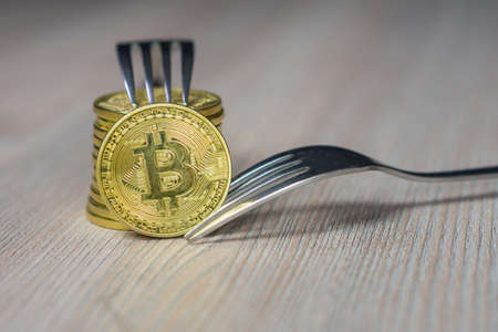 Bitcoin getting New Hard Fork Change, Physical Golden Crytocurrency Coin with fork, Blockchain concept
