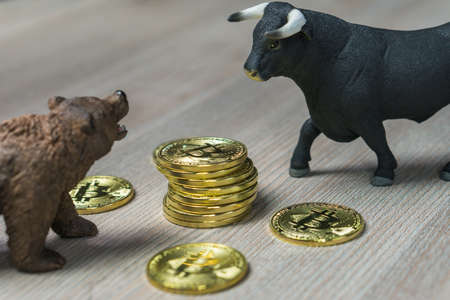Cryptocurrency Bitcoin price with bull and bear trend concept