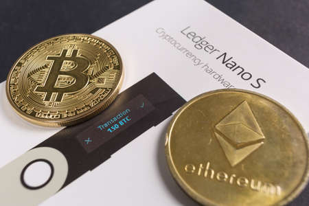SLOVENIA - DECEMBER 27, 2018: Ledger hardware wallet for cryptocurrency like bitcoin, ethereum and others Editorial