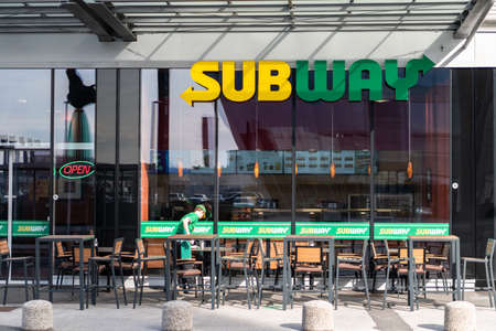 Ljubljana, Slovenia - 26.2.2019 : Exterior view of Subway Restaurant Ljubljana Slovenia. It is one of the fastest growing franchises in the world, with 43,035 restaurants.