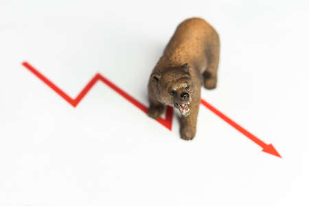 Cryptocurrency Ethereum price crash and drop as a bear trend concept