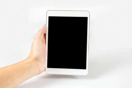 Digitales Tablet in einer Hand, auf weißem Hintergrund, isoliert