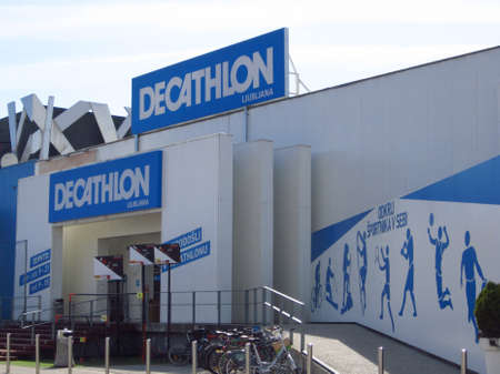 LJUBLJANA, SLOVENIA - MARCH 22 2019: Decathlon sign on a wall. Decathlon is a french company and one of the worlds largest sporting goods retailers
