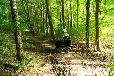 a man on an electric wheel riding off-road in the forest Imagens