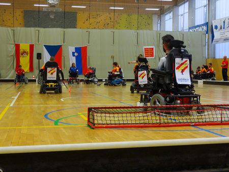 Czech Republic, PRAGUE - OCTOBER 11 2019: Powerchair hockey IPCH Qualification Tournament 2019 Reklamní fotografie - 136773508
