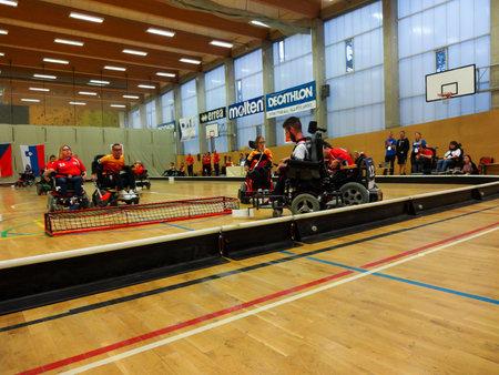 Czech Republic, PRAGUE - OCTOBER 11 2019: Powerchair hockey IPCH Qualification Tournament 2019 Reklamní fotografie - 136773510