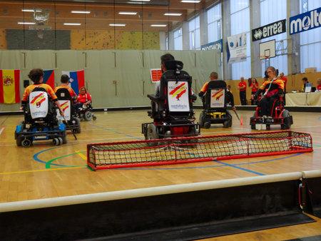 Czech Republic, PRAGUE - OCTOBER 11 2019: Powerchair hockey IPCH Qualification Tournament 2019 Reklamní fotografie - 136773511