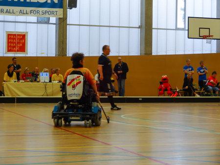 Czech Republic, PRAGUE - OCTOBER 11 2019: Powerchair hockey IPCH Qualification Tournament 2019 Reklamní fotografie - 136773512