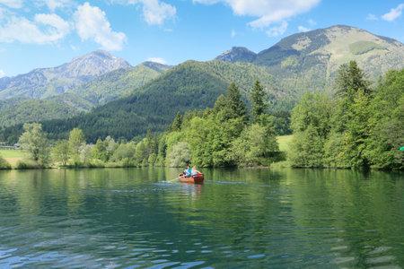 Slovenia, Preddvor - June 2 2019: Breathtaking view of lake Crnava and Karavanke mountains Reklamní fotografie - 136918875