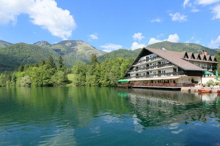 Slovenia, Preddvor - June 2 2019: Breathtaking view of lake Crnava and Karavanke mountains Reklamní fotografie - 136918877
