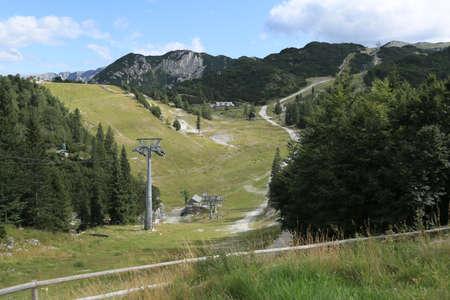 View of the Vogel ski resort mountains in Slovenian Julian Alps Stock fotó