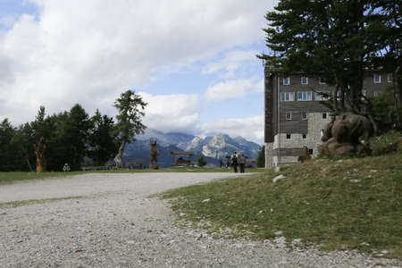Slovenia, Bohinj - 08 14 2019: View of the Vogel ski resort mountains in Slovenian Julian Alps Reklamní fotografie - 136918889