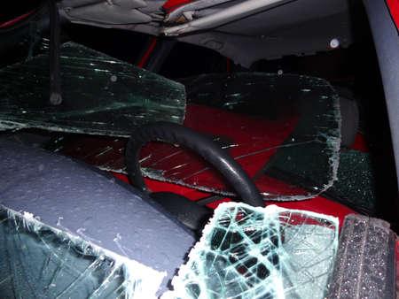 Total car crash smash accident on a road Zdjęcie Seryjne