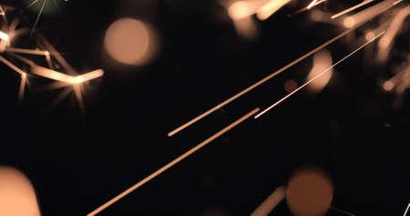 Burning firework sparks on black background, happy Christmas and New year celebration