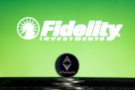 Ethereum coins with Fidelity logo on a laptop screen. Slovenia, Ljubljana - 02 24 2019 Reklamní fotografie - 136926548