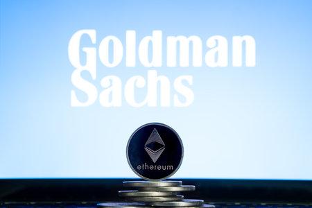 Ethereum coins with Goldman Sachs logo on a laptop screen. Slovenia, Ljubljana - 02 24 2019 Reklamní fotografie - 136926549