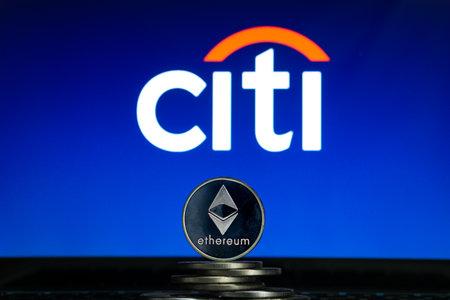 Ethereum coins with Citi bank logo on a laptop screen. Slovenia, Ljubljana - 02 24 2019 Reklamní fotografie - 136926542