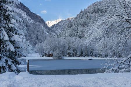Lake Jasna in Winter near Kranjska Gora, Slovenia. Snow on Landscape.