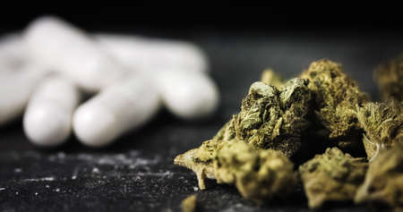Medical white pills with dry Cannabis Buds. Alternative Medicine