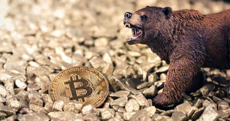 Bearish bitcoin price drop concept. Bear market and loosing value on digital gold Stock Photo