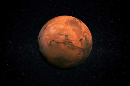 Planet Mars in the Starry Sky of Solar System in Space.