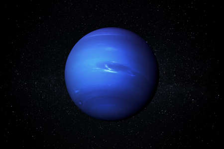 Planet Neptune in the Starry Sky of Solar System in Space.