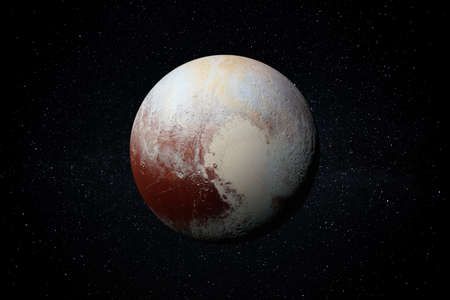 Planet Pluto in the Starry Sky of Solar System in Space.