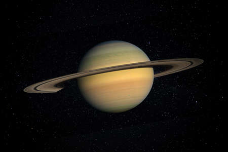 Planet Saturn in the Starry Sky of Solar System in Space.