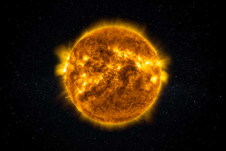 Sun Star in the Starry Sky of Solar System in Space.