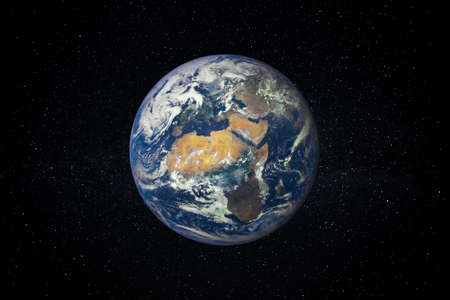 Planet Earth in the Starry Sky of Solar System in Space.