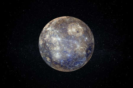 Planet Mercury in the Starry Sky of Solar System in Space. Reklamní fotografie