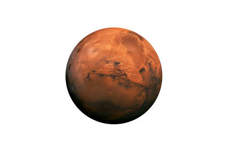 Planet Mars in the Starry Sky of Solar System in Space. Stock Photo
