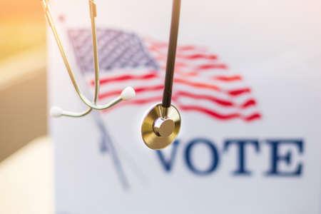 Stetoscope on ballot box for american presidential elections. Standard-Bild