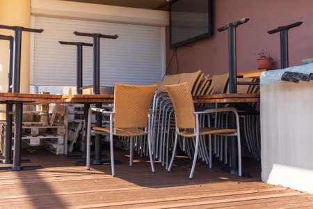 Closed restaurant bar due to coronavirus lockdown and virus pandemic.