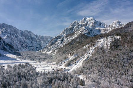 Aerial view of Ski Jump in Planica, Slovenia at Ratece near Kranjska gora in winter with snow.
