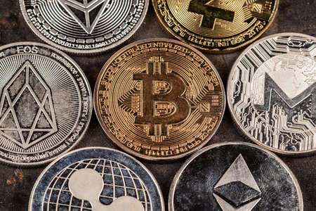 Bitcoin cryptocurrency with altcoins and shitcoins. Investment and store of value concept.